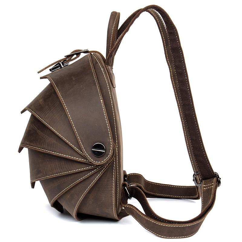 ยี่ห้อผู้ชาย Vintage Cowhide หนังกระเป๋าเป้สะพายหลัง Casual Flap กระเป๋าเป้สะพายหลังด้วง Retro กระเป๋าเดินทางวันหยุดสุดสัปดาห์ Handmade Rucksack-ใน กระเป๋าเป้ จาก สัมภาระและกระเป๋า บน   3
