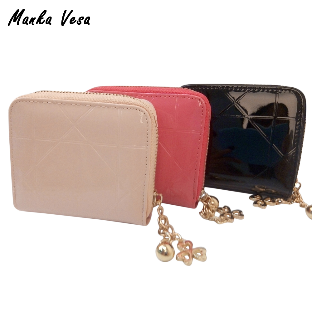 Manka Vesa Patent Leather Women Short Wallets Ladies Small Wallet Zipper Roomy Coin Purse Female Credit Card Purses Money Bag otherchic women short wallets small simple wallet zipper coin pocket purse woman female roomy wallet purses money bag 7n01 14