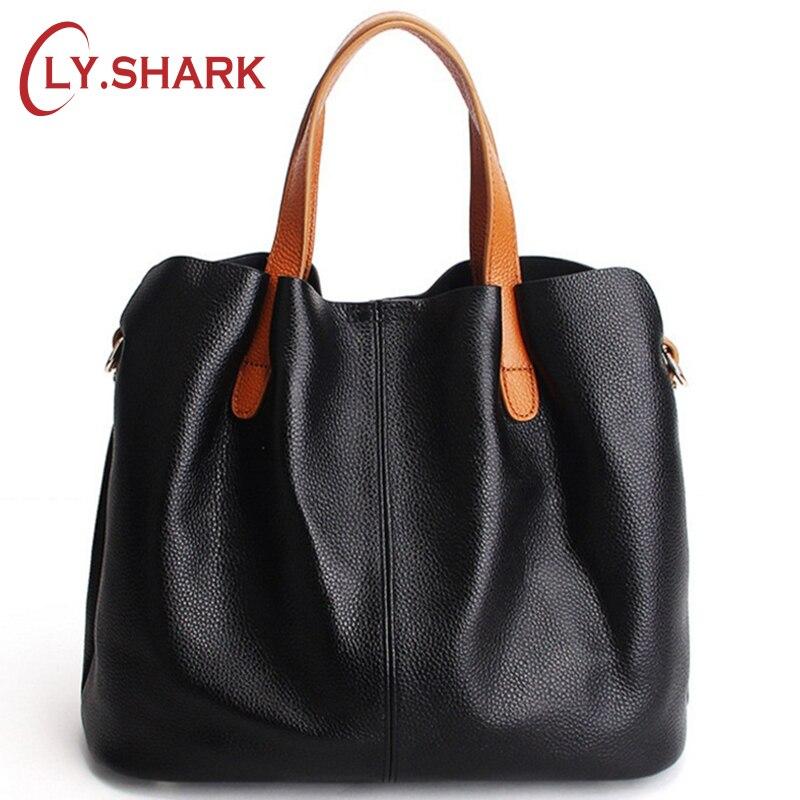 LY.SHARK Ladies Genuine Leather Bag Women Messenger Bags Handbags Women Famous Brands Crossbody Bags For Women Shoulder Bag Big