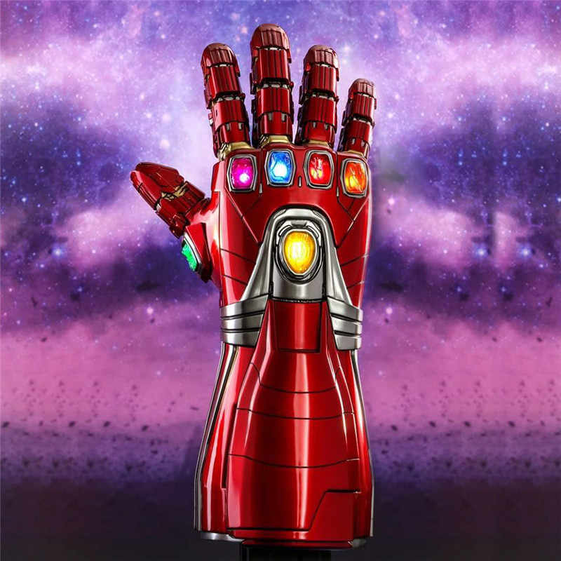 Legal New PVC LED Light Endgame Vingadores Tony Stark Homem De Ferro Armadura Nano Thanos Infinity Gauntlet Gauntlet Luvas Cosplay Adereços