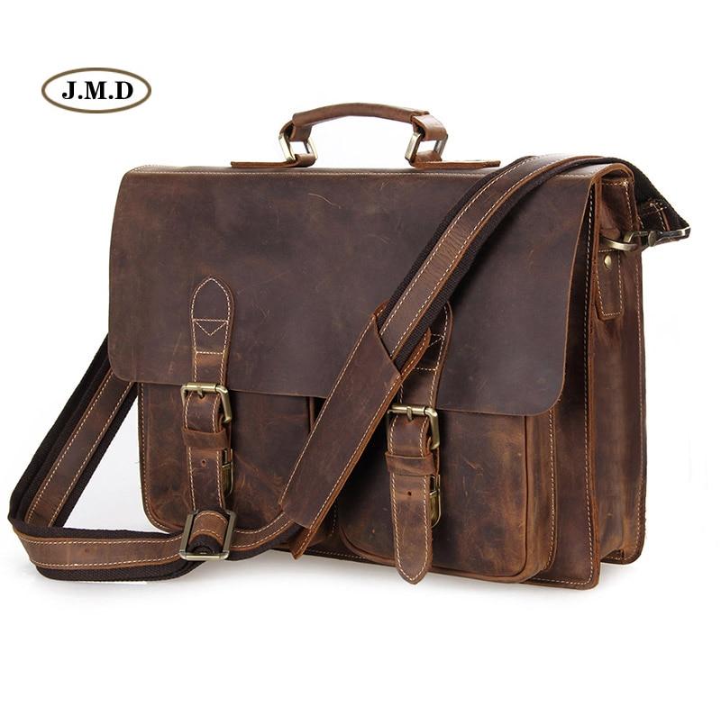 Augus мужские модные коричневые деловые портфели из натуральной коровьей кожи, сумка на плечо для ноутбука, сумка мессенджер 7105B 1