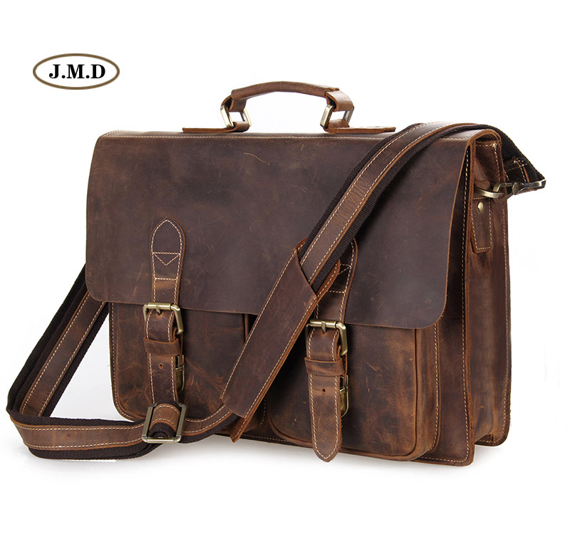 Augus Men's Fashion Genuine Cow Leather Brown Business Briefcases Shoulder Bag Laptop Handbag Messenger Bag 7105B-1