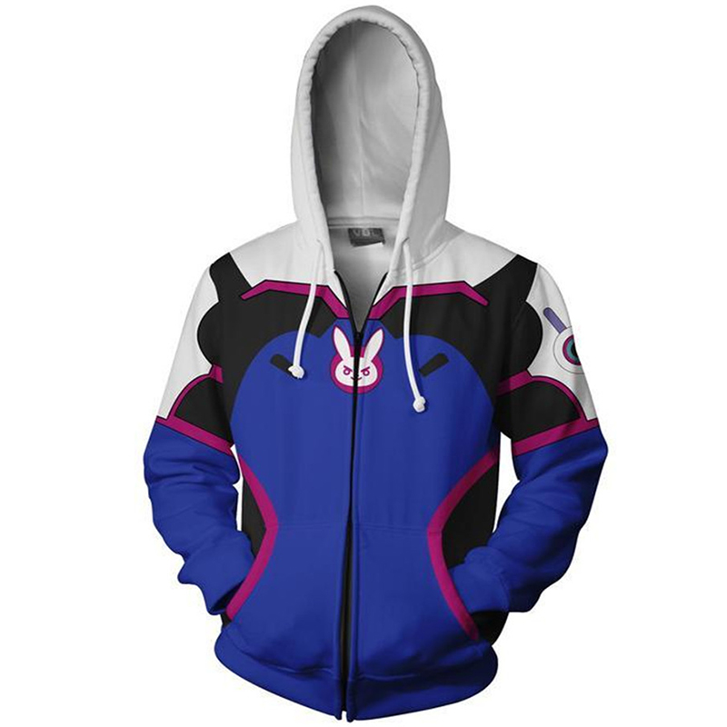 Overwatch DVA Cosplay Costume 3D Print Hoodie Sweatshirt Women Men Couple Hood