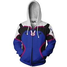 Overwatch DVA Cosplay Costume 3D Print Hoodie Sweatshirt Women Men Couple Hood