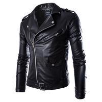 Для мужчин Кожаная Куртка Мода PU Мужской белая кожаная мотоциклетная куртка Пальто для будущих мам Для мужчин S брендовая одежда пальто чёр...