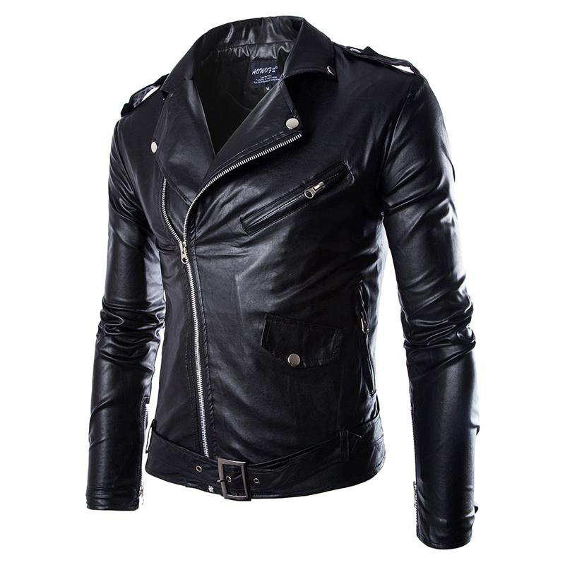 Men <font><b>Leather</b></font> Jacket Fashion PU Male White <font><b>Leather</b></font> Motorcycle Jacket Coats Mens Brand Clothing Coat Black Brown M-3XL