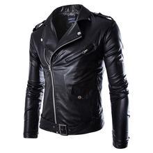 Men Leather Jacket Fashion PU  Male White Leather Motorcycle Jacket Coats  Mens Brand Clothing Coat Black Brown M-3XL