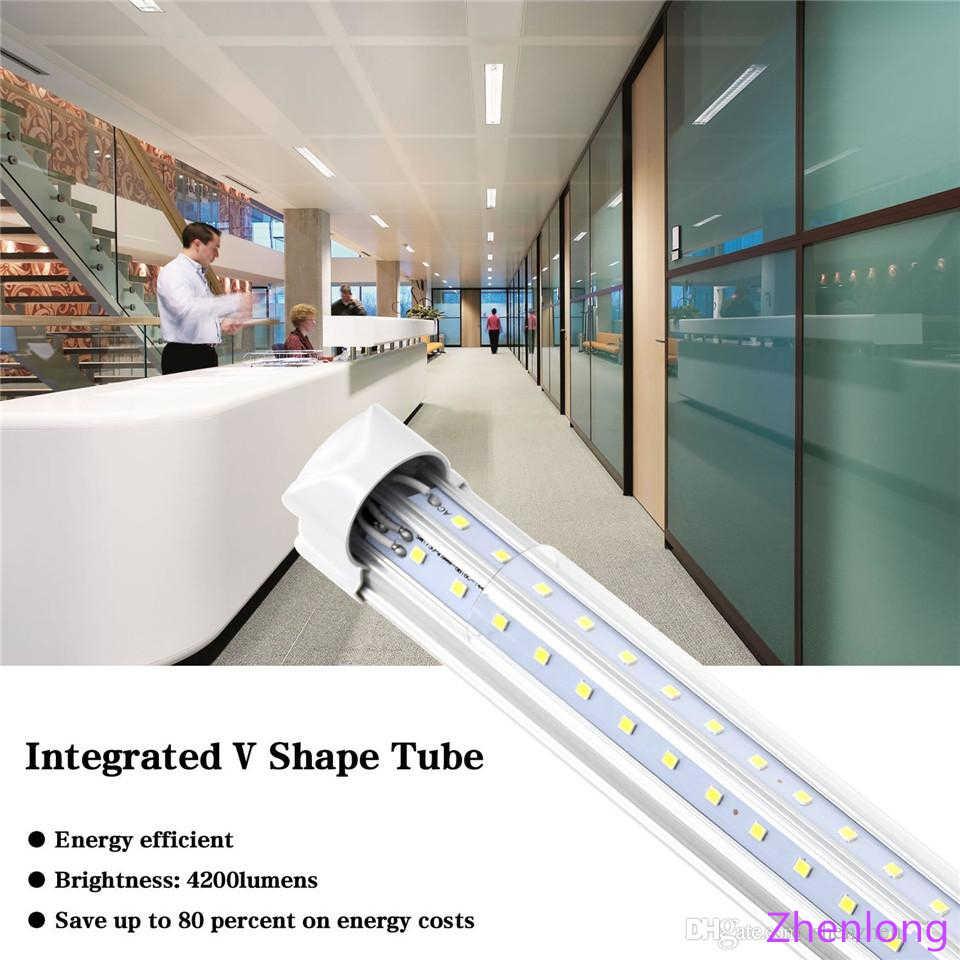 T8 v shaped 8ft led tube lights integrated 2ft 3ft 4ft 5ft 6ft 8 foot cooler door lighting double row shop lights tubes fluoresc