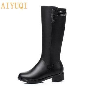 Image 4 - Femmes chaussures dhiver bottes en cuir véritable elle à talons hauts fille longue laine fille frail dame chaussures de mode bottes militaires