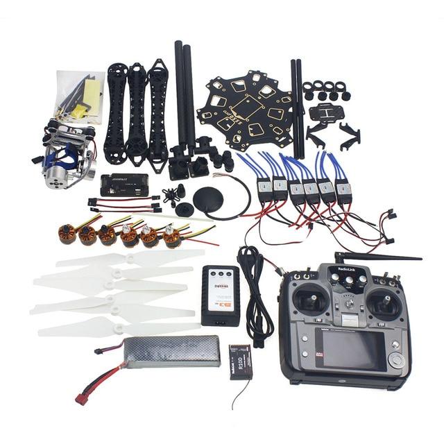 Conjunto completo RC Drone Aviones de $ number ejes Kit HMF S550 Marco 6 M GPS APM 2.8 Vuelo de Control Transmisor Cardán de Montaje de Cámara AT10 F08618-P