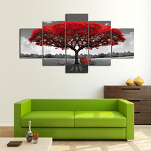 5 Pieces Autumn Red Tree Canvas Set, Multi Panel Print Red Leaves Abstract Picture Wall Art