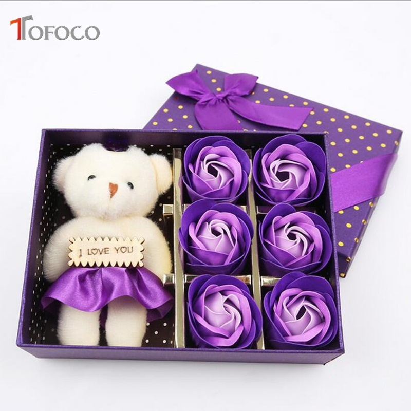 TOFOCO New Romantic Soap Flower Plash Bear Doll+6 Rose Fake Artificial Flowers Gift Box For Birthday Xmas Valentine's Day Gifts image