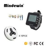 Mindewin часы для медсестры 15 шт. кнопку вызова m-k-3 и 1 шт. часы Пейджер m-w-1 больницы Беспроводной вызова Системы