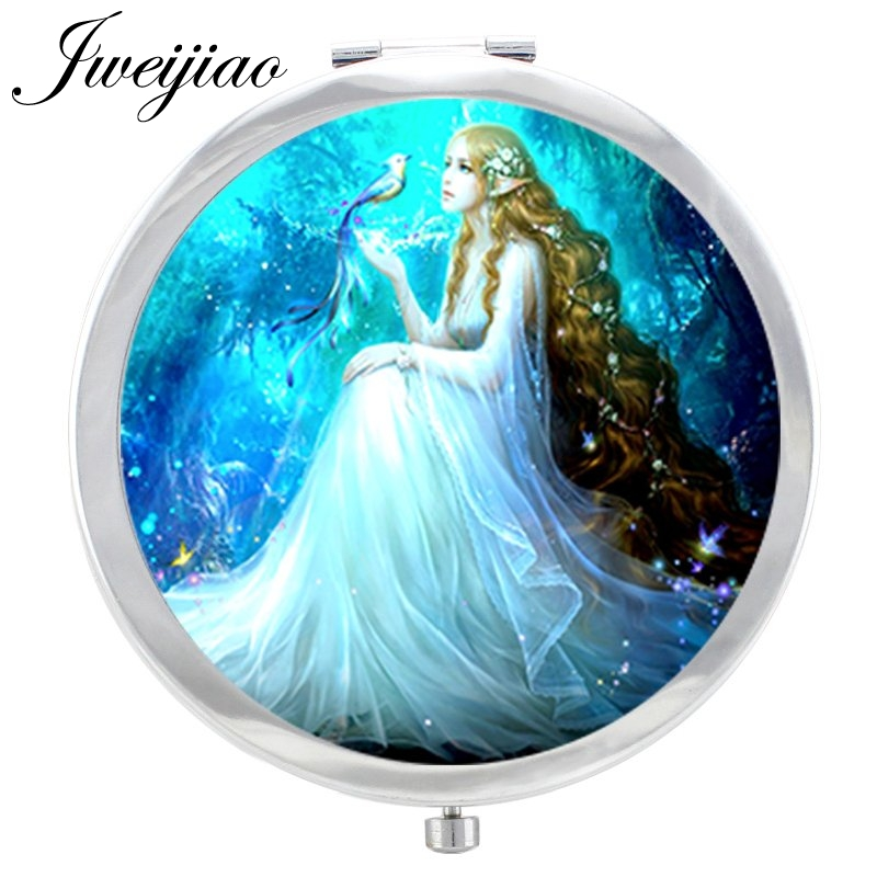 JWEIJIAO Love Fairy Flower Photo In Glass Cabochon Makeup Mirror Women Wings Girls Beauty Tools Floding Round Hand Mirror Espejo