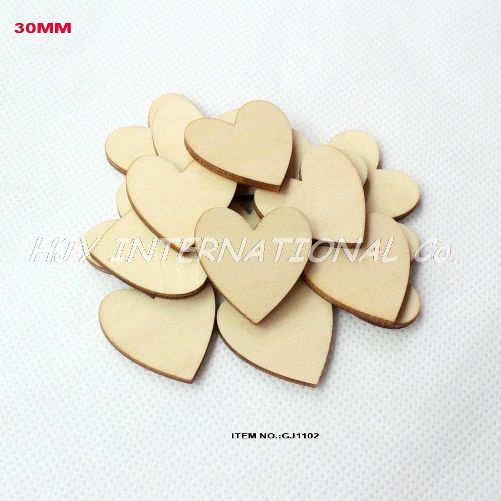 (100pcs/lot) 30mm Unfinished shabby wood heart supplies family crafts natural rustic 1.2 ...