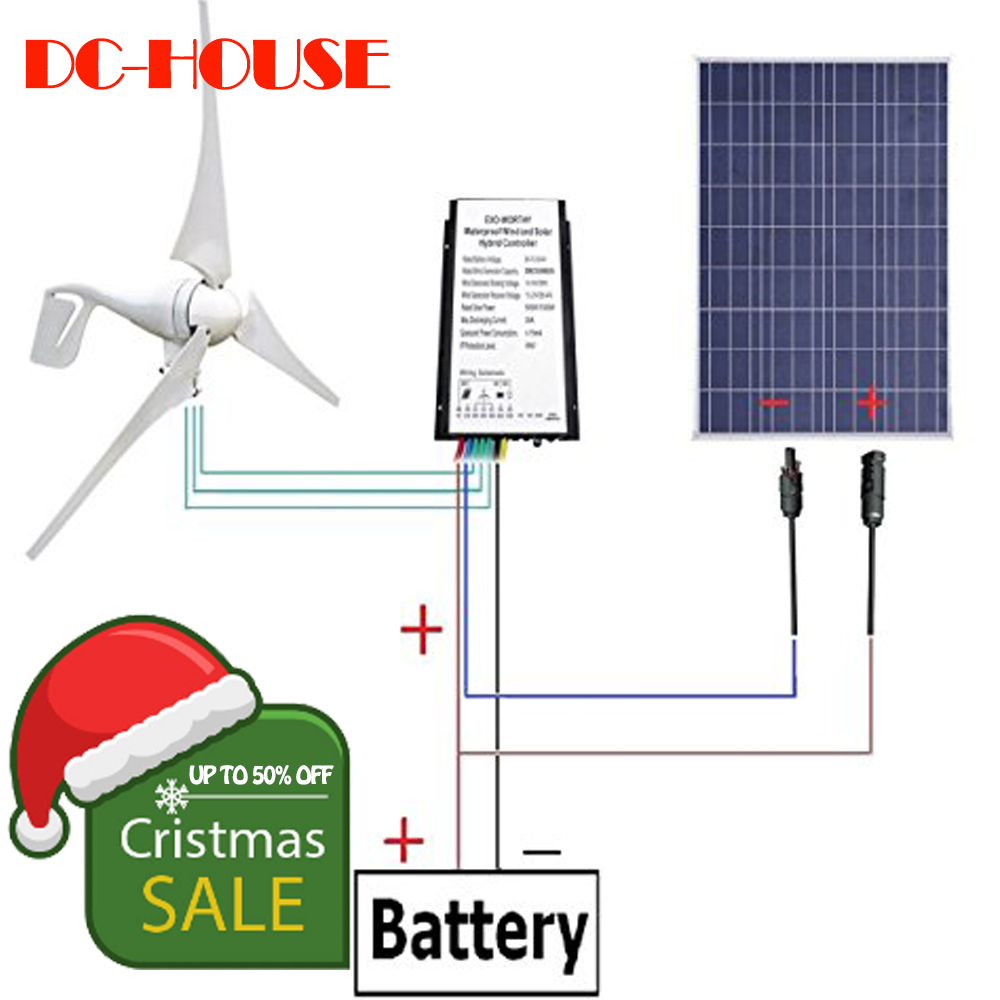 AU EU USA Stock No Tax No Duty Daily 12V 500W/H Hybrid System Kit 400W Wind Turbine Generator & 100W PV Solar Panel