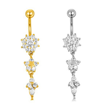 Sexy Dangle Bars Belly Button Rings Belly Piercing CZ Crystal Flower Body Jewelry Navel Piercing Rings Drop Shipping