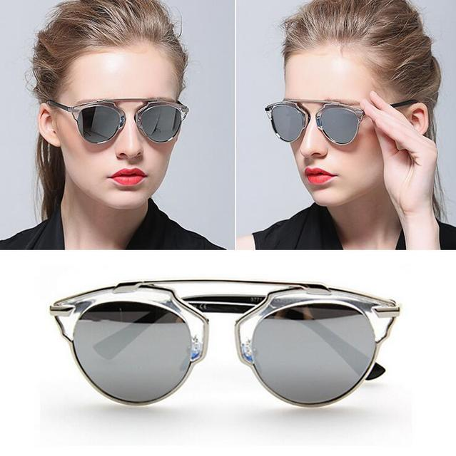 543a6dfec New Fashion Transparent Sunglasses Men Women Vintage Silver Mirror Lens