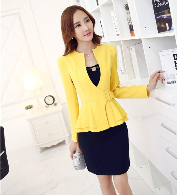 fd02635a8a6 Formal Office Uniform Designs Women Suits with Skirt and Jacket Sets Yellow Blazer  Ladies Work Wear Clothes