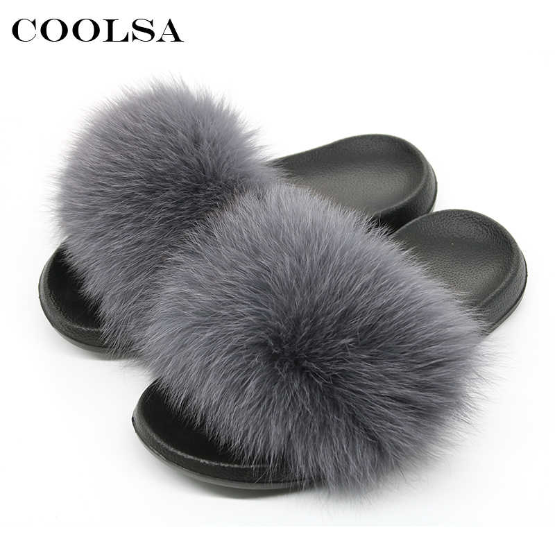33777c6848d7 New Summer Fluffy Fur Women Slippers Indoor Flip Flop Real Fox Hair Slider  Flat Soft Slip