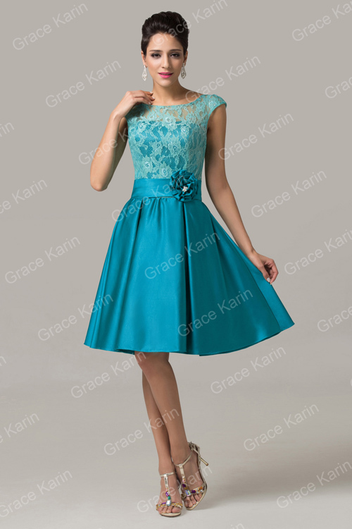 Short Lace Mother of the Bride dresses Grace Karin Cap sleeves ...