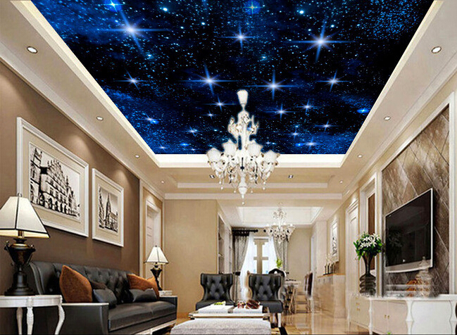 3d wallpaper custom mural non woven 3d room wallpaper star for Sky design hotel