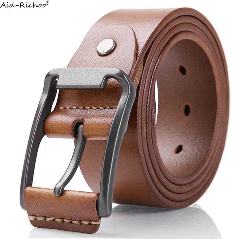 Top layer of cowhide Vintage Pin Buckle Belts for Men Brand Strap Male Needle Buckle Fancy Vintage Cowboy <font><b>Jeans</b></font> <font><b>Olive</b></font> Drab Belt