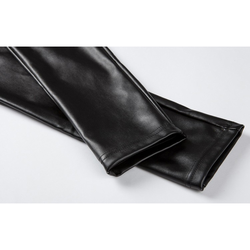 Elastische hohe Taille Frauen warme Winter PU-Lederhosen plus Größe - Damenbekleidung - Foto 6