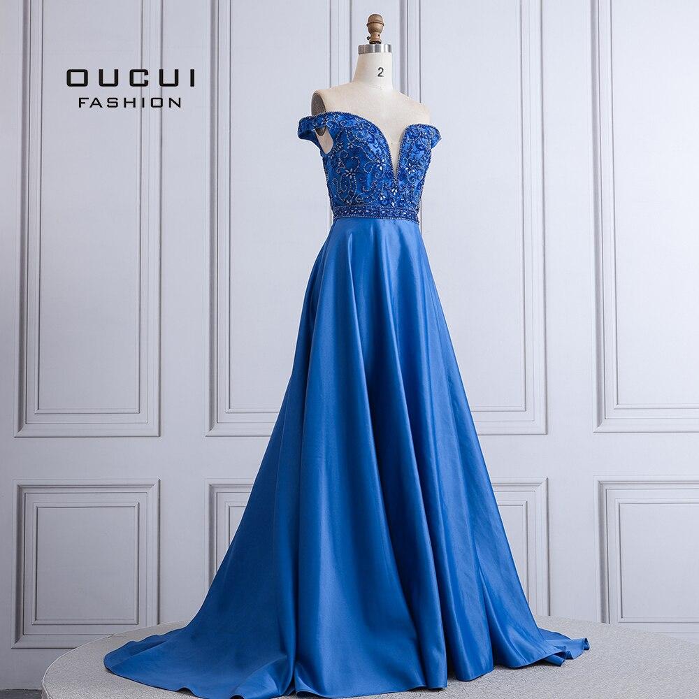 Sexy femmes longueur de plancher Style robe de soirée hors de l'épaule une ligne Occasions spéciales robes de bal OL103507 - 3
