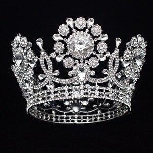 Image 3 - Büyük kristal düğün gelin tacı taç gelin başlığı kadınlar kraliçe balo Diadem saç süsler kafa takı aksesuarları