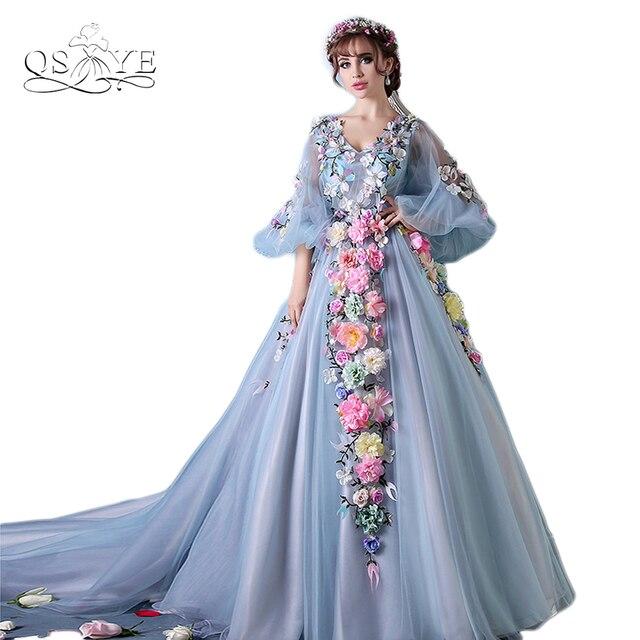 4b4e07666a 2018 3D kwiaty długie Prom Party wieczór sukienka Arabian sari suknia  wieczorowa długie rękawy suknie balowe