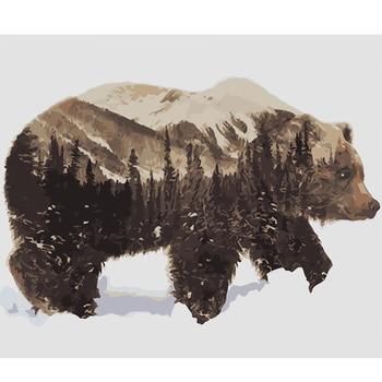 스노우 블랙 베어 diy 페인팅 번호로 프레임 그리기 키트 캔버스에 페인트 홈 월 아트 그림에 대한 고유 40x50 cm