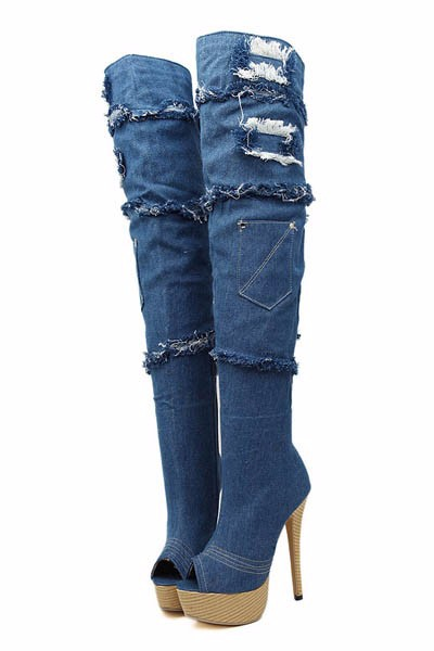 Women Blue Denim Boots Platform Thigh High Boots Peep Toe High Heel Over The Knee High Boots Stiletto Long BootsWomen Blue Denim Boots Platform Thigh High Boots Peep Toe High Heel Over The Knee High Boots Stiletto Long Boots