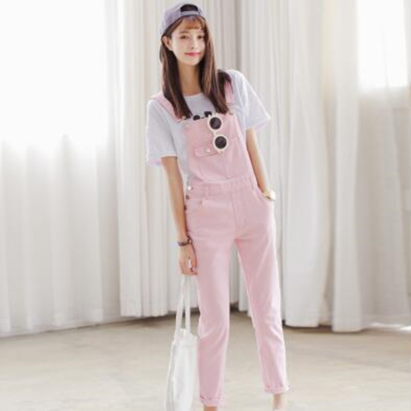 2016 Summer Women Jeans Candy color Elastic Overalls Bib Pants Preppy Style Cute Casual Slim Plus Size Trousers plus size pants the spring new jeans pants suspenders ladies denim trousers elastic braces bib overalls for women dungarees