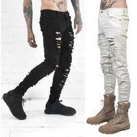 New Fashion Men Black White Skinny Slim Fit Jeans Distressed Ripped Destroyed Holes Denim Pants