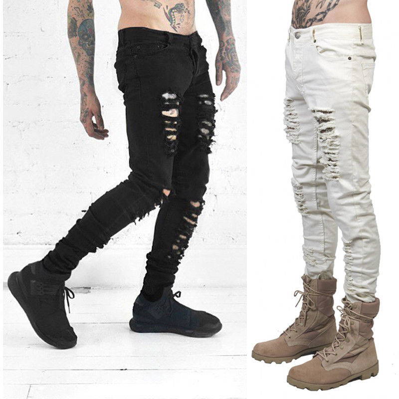 New Fashion Men Black White Skinny Slim Fit Jeans Distressed Ripped Destroyed Holes Denim Pants игрушки для зимы полесье набор для песочницы 238