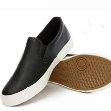 Men's White Canvas Black Leather Round toe Slip-On Loafers Driving Footwear Plus size 39-48 Low top Flynit Creepers Casual Shoes