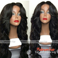 synthetic lace front wig gluelss body wave black color wig with bang heat resistant synthetic wigs for black women fast shipping