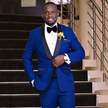 Королевский синий смокинг для жениха Свадебные костюмы мужчин