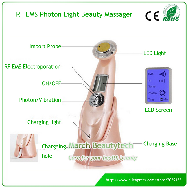 Home Use Multifunctional EMS Electroportion RF Radio Frequency Skin Lifiting Whitening Anti-aging Face Beauty Equipment Machine