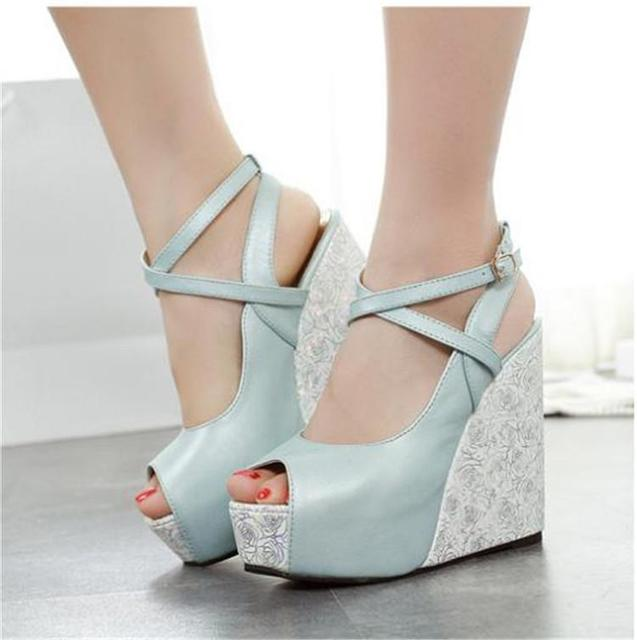 3983f3bb3203 Cheap Floral Printed Blue White Peep Toe Summer Style Thick Sole Wedges  Platform Ankle Strap High Heel Buckle Women Sandals 2015