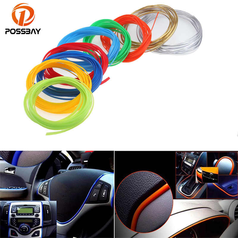 Possbay 5M Mobil Styling Pintu Mobil Dashboard Udara Outlet Roda Kemudi Styling Dekorasi Interior Garis Strip Moulding Trim Strip