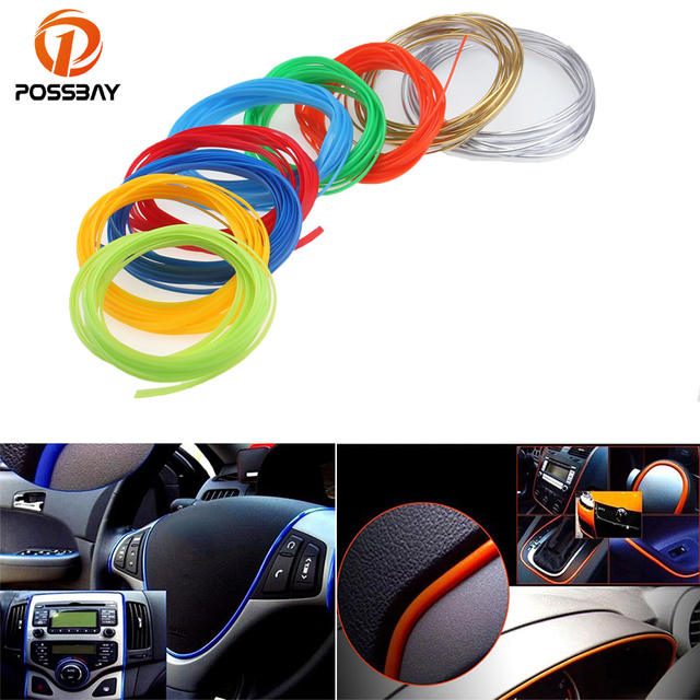 POSSBAY 5M Car Styling Car Door Dashboard Air Outlet Steering Wheel Styling Interior Decoration Line Strips Moulding Trims Strip