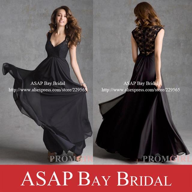 V-Nack Black Long Graduation Dresses