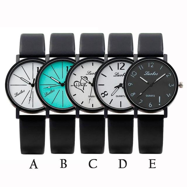 Moment # L05 2018 Women watches Fashion Color Strap Digital Dial Leather mens watch Band Quartz Analog unisex Wrist Watches New