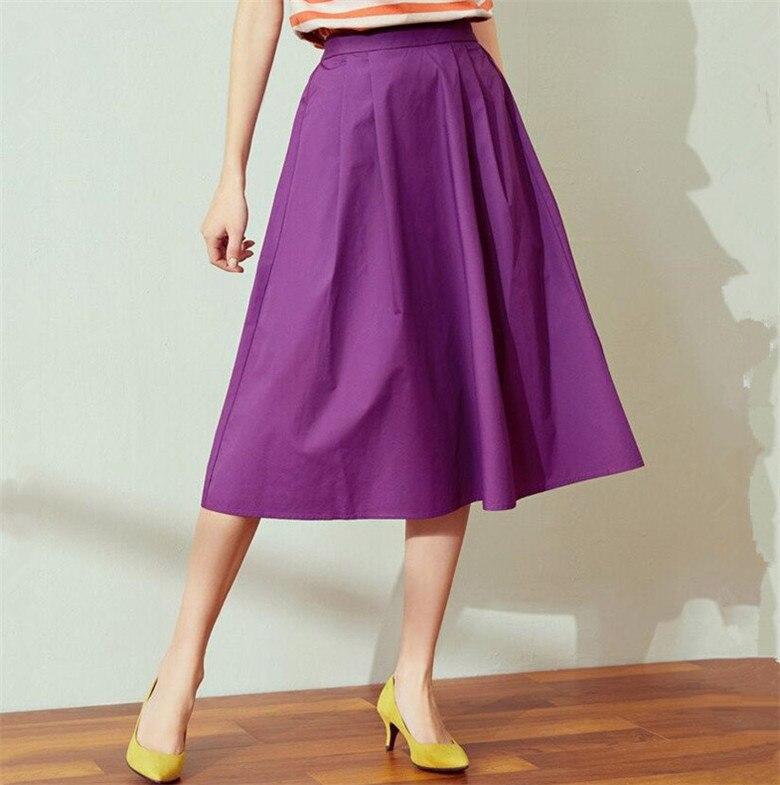2020 Korean Elegant High Waist Candy Color Cotton Skirt Female Autunm Pleated School Skirt Plus Size Office Skirts 5xl 6xl 7xl