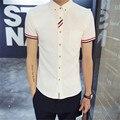 Мода Мужчина Подростков Чистого Цвета Рубашка С Короткими Рукавами Большой Ярдов 4XL Отдыха Приливные Тонкие Рубашки Лето 2016 Бесплатная Доставка