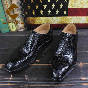 Sipriks Brands Printed Crocodile Shoes Black Mens Goodyear Welted Dress Shoes Boss Business Office Gents Social Oxfords Shoes 46 - DISCOUNT ITEM  25% OFF All Category