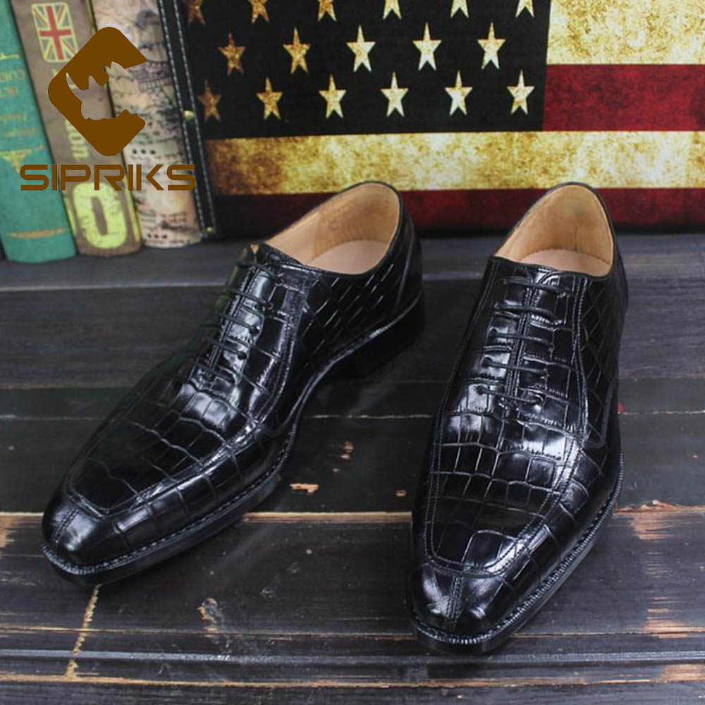 Sipriks Luxury Printed Cow Leather Crocodile Skin Shoes ...
