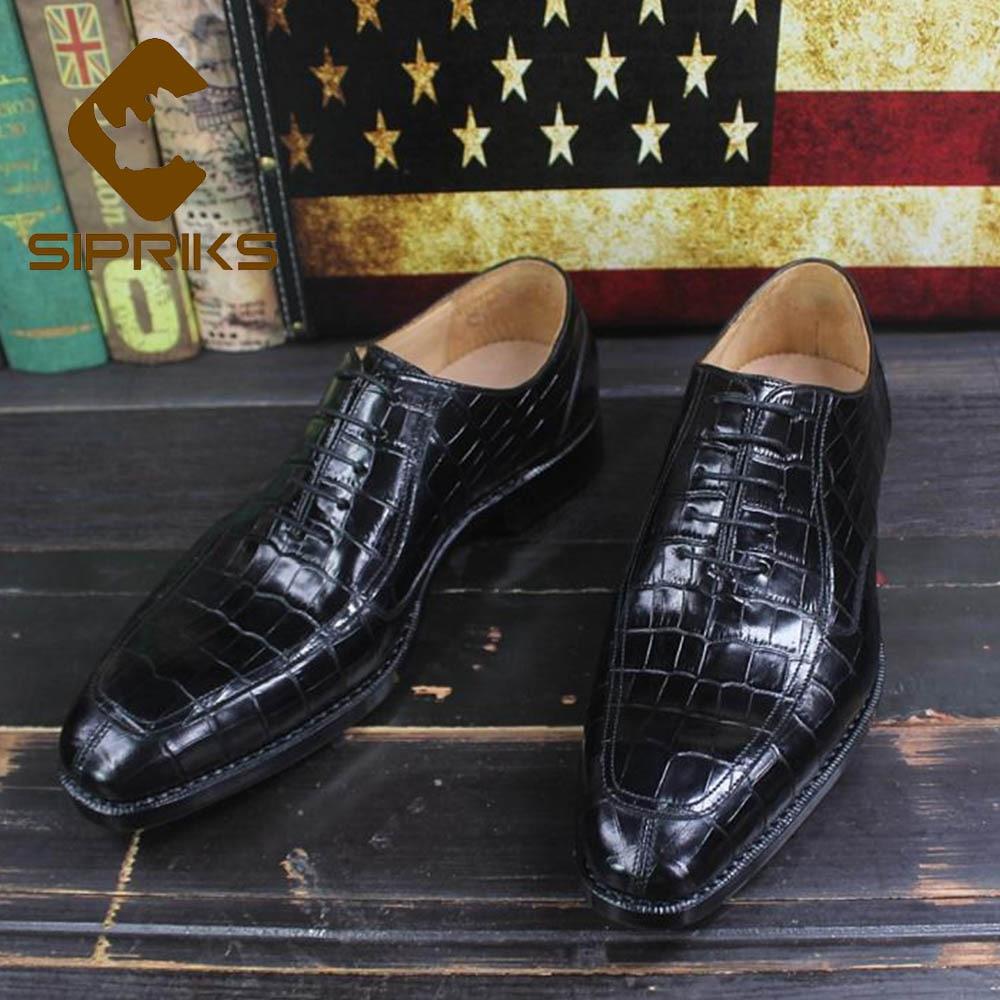 Sipriks الماركات المطبوعة التمساح أحذية رجالي يير مجلود اللباس أحذية مدرب الأعمال مكتب أوكسفورد أحذية للرجال الاجتماعية 46-في أحذية رسمية من أحذية على  مجموعة 1